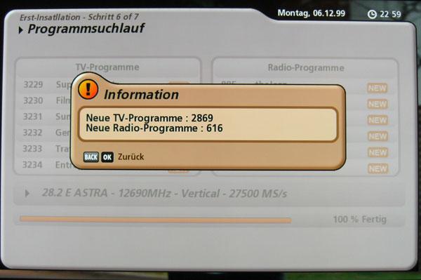 Kathrein UFS-922 Sendersuchlauf beendet