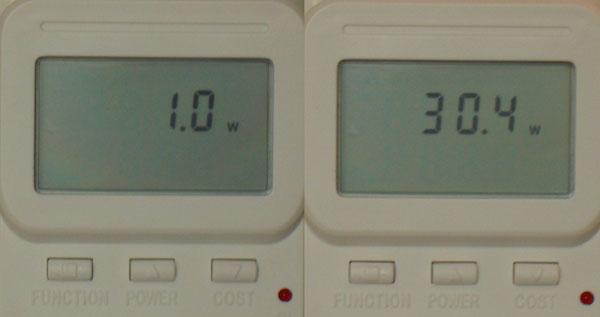 Standby: 1 Watt - Betrieb: 30 Watt