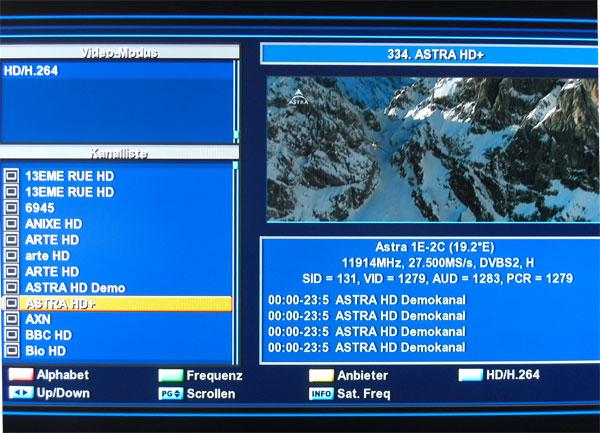 Sortierfunktionen der Programmliste beim NanoXX 9500HD