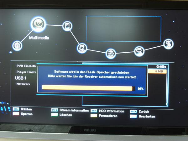 Software-Update beim NanoXX 9500HD