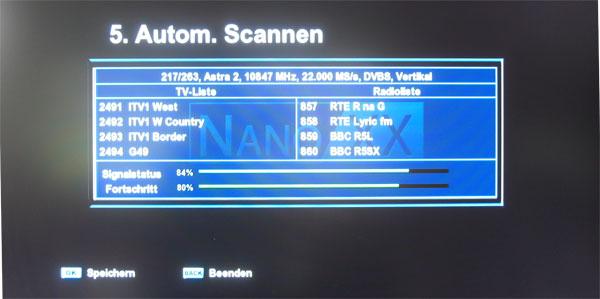 Sendersuchlauf beim NanoXX 9500HD