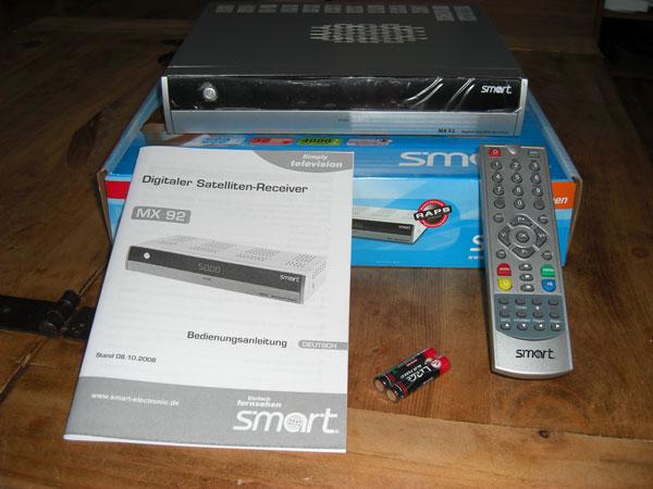 Lieferumfang des Smart MX92 HDTV-Receivers