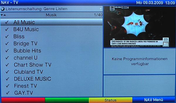 Auflistung der Programme nach Genres