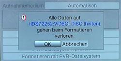 Formatierung für die PVR-Funktion