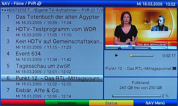 Das Aufnahmenarchiv des Digit HD8-S