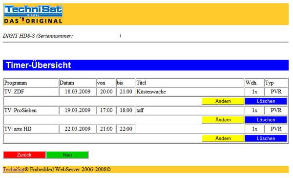 Timer sind auch über eine Weboberfläche programmierbar