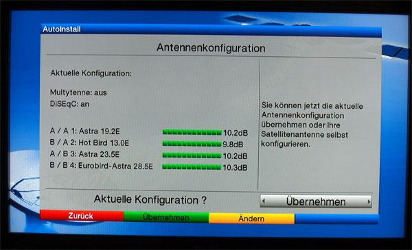 Satellitenkonfiguration beim TechniSat Digit HD8-S