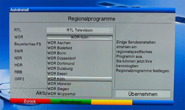 Auswahl der Regionalprogramm beim TechniSat Digit HD8-S