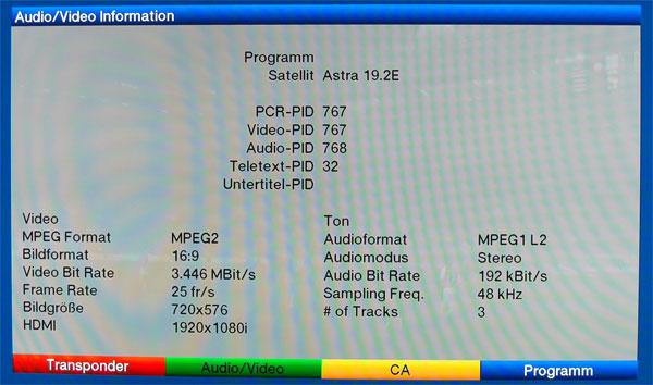 Für Technik-Freaks - Die Detailanzeige der Senderparameter