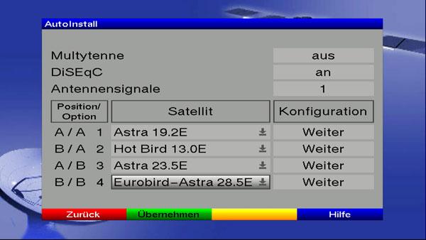 Einstellung der Antennenkonfiguration beim DigiCorder HD S2 Plus
