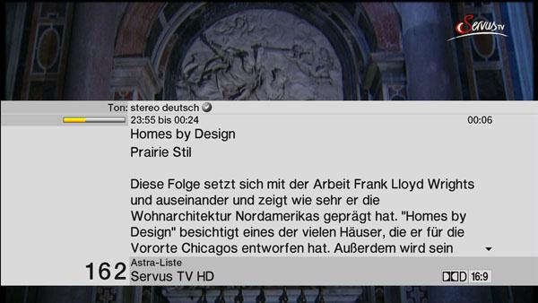 Erweiterte Informationen zur aktuellen Sendung beim TechniSat Digit HD8+