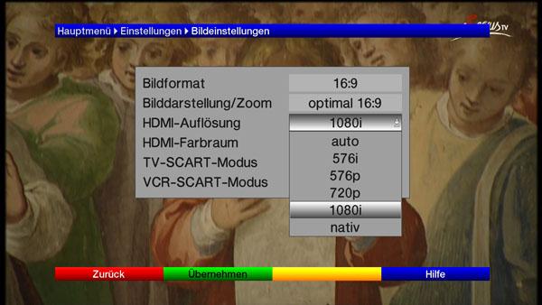 Einstellungsmöglichkeiten für die Auflösung via HDMI