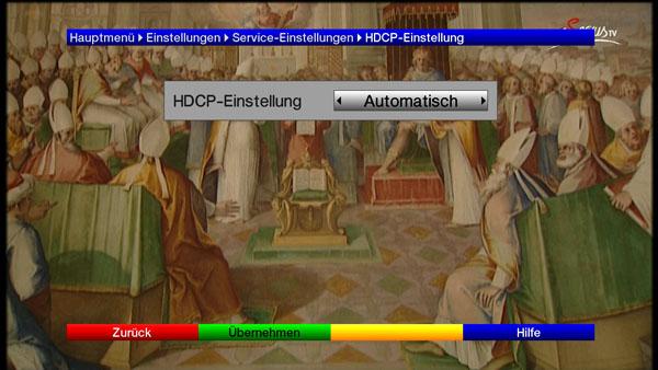 Einstellungsmöglichkeit für den HDCP Signalschutz