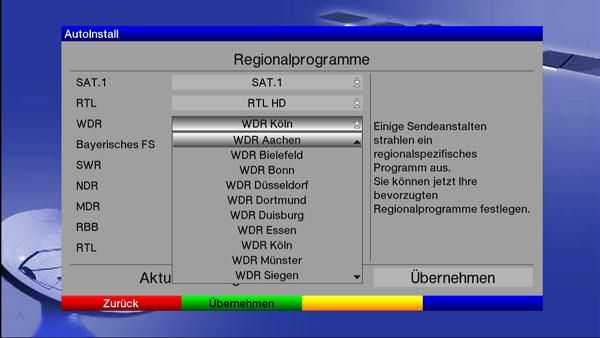 Einstellung der Regionalprogramme beim TechniSat Digit HD8+