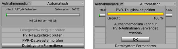 Festplattenfunktionen des TechniSat Digit HD8+