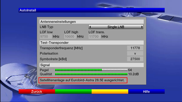 Details zur Einstellung der Sat-Antenne beim Digit HD8+
