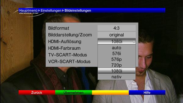 Die Bildeinstellungen des TechniSat Digit HD8+