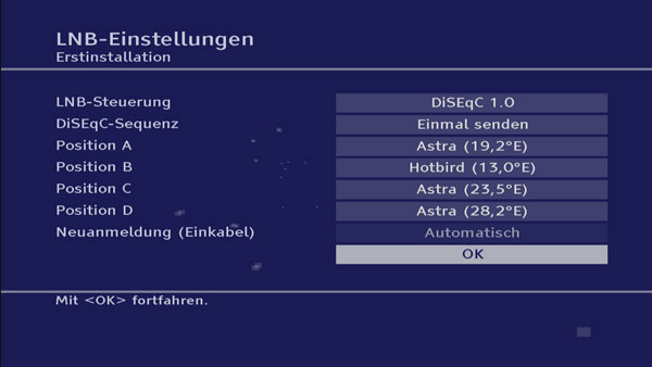 Die LNB-Einstellungen des TechnoTrend TT-micro S835 HD+