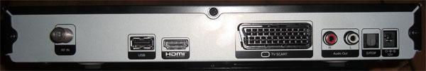 Die Anschlüsse an der Rückseite des TechnoTrend TT-micro S835 HD+