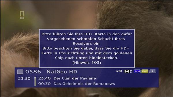 Die HD+ Smartcard muss zwingend im Slot stecken