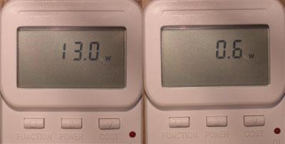 Die Leistungsaufnahme liegt im Standby bei 0,6 Watt (Eco-Mode) und bei 13 Watt im Betrieb