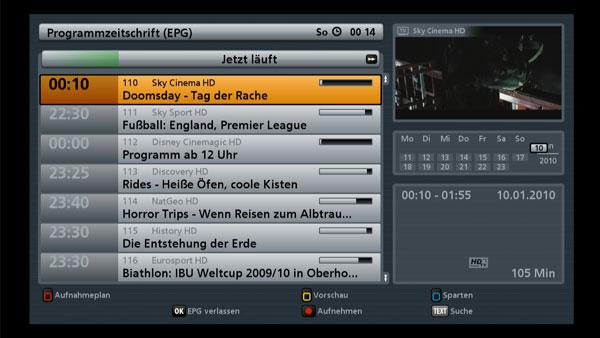 Ein Blick auf das übersichtliche EPG des Kathrein UFS 903 HDTV