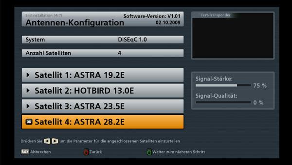 Die Antenneneinstellung beim Kathrein UFS 903 HDTV
