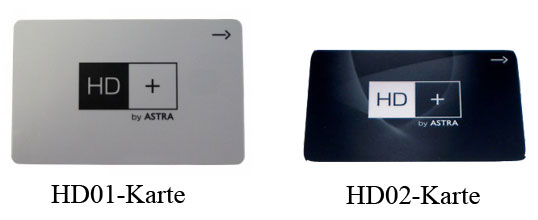 HD+ Smartcards HD01 und HD02 Vergleich